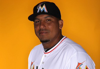 JUPITER, FL - FEBRUARY 27: Pitcher Carlos Zambrano #38 of the Miami Marlins poses for photos during media day on February 27, 2012 in Jupiter, Florida. (Photo by Marc Serota/Getty Images)