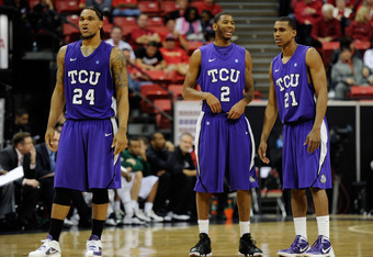 LAS VEGAS, NV - MARCH 08:  Adrick McKinney #24, Connell Crossland #2 and Nate Butler #21 of the Texas Christian Horned Frogs wait for a teammate to shoot a technical free throw against the Colorado State Rams during a quarterfinal game of the Conoco Mount