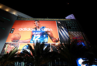 ORLANDO, FL - FEBRUARY 24:  A detail of an adidas banner advertisement featuring Dwight Howard #12 of the Orlando Magic hung on the exterior during the BBVA Rising Stars Challenge part of the 2012 NBA All-Star Weekend at Amway Center on February 24, 2012