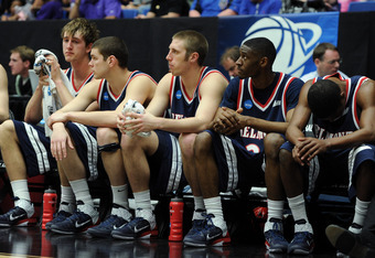 TUCSON, AZ - MARCH 17:  The Belmont Bruins bench looks on during their 58 to 72 loss to the Wisconsin Badgers during the second round of the 2011 NCAA men's basketball tournament at McKale Center on March 17, 2011 in Tucson, Arizona.  (Photo by Harry How/