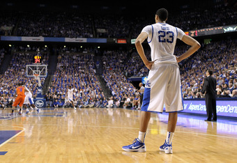 LEXINGTON, KY - FEBRUARY 07: Anthony Davis #23 of the Kentucky Wildcats stands down court from the action during the game against the Florida Gators at Rupp Arena on February 7, 2012 in Lexington, Kentucky.  (Photo by Andy Lyons/Getty Images)