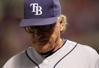 ARLINGTON, TX - OCTOBER 01:  Manager Joe Maddon of the Tampa Bay Rays during Game Two of the American League Division Series at Rangers Ballpark in Arlington on September 30, 2011 in Arlington, Texas.  (Photo by Ronald Martinez/Getty Images)