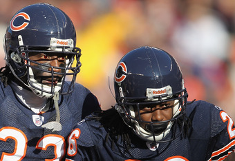 CHICAGO, IL - DECEMBER 18: Charles Tillman #33 and Tim Jennings #26 of the Chicago Bears await the start of play against the Seattle Seahawks at Soldier Field on December18, 2011 in Chicago, Illinois. The Seahawks defeated the Bears 38-14.  (Photo by Jona