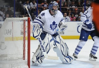 EDMONTON, CANADA - FEBRUARY 15: James Reimer #34 of theToronto Maple Leafs  of the Edmonton Oilers on February 15, 2012 at the Rexall Place in Edmonton, Alberta, Canada. (Photo by Dale MacMillan/Getty Images)