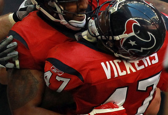HOUSTON, TX - OCTOBER 30:   Arian Foster #23 and  Lawrence Vickers #47 of the Houston Texans celebrate a touchdown against the Jacksonville Jaguars at Reliant Stadium on October 30, 2011 in Houston, Texas.  (Photo by Ronald Martinez/Getty Images)