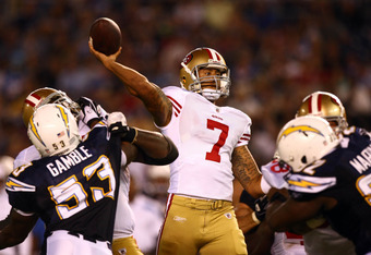 SAN DIEGO, CA - SEPTEMBER 1:   Quarterback Colin Kaepernick #7 of the San Francisco 49ers throws the ball from the pocket against the San Diego Chargers during their preseason NFL Game on September 1, 2011 at Qualcomm Stadium in San DIego, California. (Ph