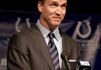 INDIANAPOLIS, IN - MARCH 07:  Peyton Manning attends a press conference announcing Manning's release from the Colts at Indiana Farm Bureau Football Center on March 7, 2012 in Indianapolis, Indiana.  (Photo by Joey Foley/Getty Images)
