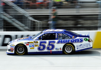 BRISTOL, TN - MARCH 18:  Brian Vickers, driver of the #55 Aaron's Dream Machine Toyota, races during the NASCAR Sprint Cup Series Food City 500 at Bristol Motor Speedway on March 18, 2012 in Bristol, Tennessee.  (Photo by Rainier Ehrhardt/Getty Images for