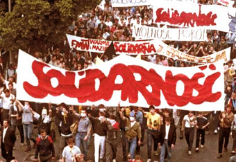 """""""Solidarity"""" was a Polish trade union that blossomed into a movement during the 1980's.  It destabilized the Communist regimes, ultimately leading to the downfall of the Soviet empire.  Decades later, it was a source of inspiration for protestors during the Arab Spring."""