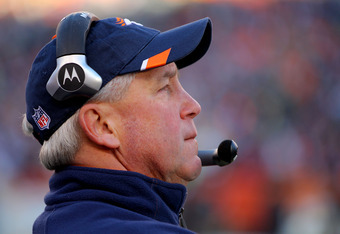 DENVER, CO - JANUARY 08:  head coach John Fox of the Denver Broncos looks on during the AFC Wild Card Playoff game against the Pittsburgh Steelers at Sports Authority Field at Mile High on January 8, 2012 in Denver, Colorado.  (Photo by Doug Pensinger/Get