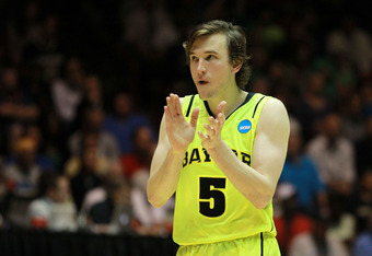 ALBUQUERQUE, NM - MARCH 17: Brady Heslip #5 of the Baylor Bears cheers in the second half of the game against the Colorado Buffaloes during the third round of the 2012 NCAA Men's Basketball Tournament at The Pit on March 17, 2012 in Albuquerque, New Mexic