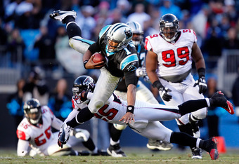 One of Cam Newton's notorious dives into the end zone.