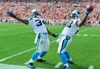 TAMPA, FL - DECEMBER 4:  Running backs Jonathan Stewart #28 and DeAngelo Williams #34 of the Carolina Panthers celebrate a touchdown run against the Tampa Bay Buccaneers December 4, 2011 at Raymond James Stadium in Tampa, Florida. (Photo by Al Messerschmi