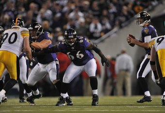 BALTIMORE - NOVEMBER 29:  Ben Grubbs #66 of the Baltimore Ravens defends against the Pittsburgh Steelers at M&T Bank Stadium on November 29, 2009 in Baltimore, Maryland. The Ravens defeated the Steelers 20-17. (Photo by Larry French/Getty Images)