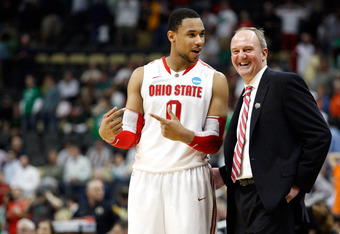 PITTSBURGH, PA - MARCH 17:  Head coach Thad Matta of the Ohio State Buckeyes talks with Jared Sullinger #0 late in the second half against the Gonzaga Bulldogs during the third round of the 2012 NCAA Men's Basketball Tournament at Consol Energy Center on