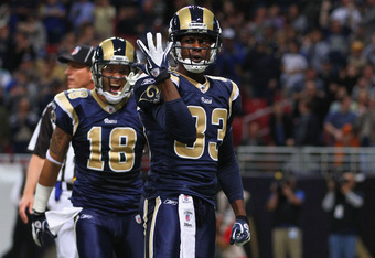 ST. LOUIS, MO - NOVEMBER 20: Brandon Lloyd #83 of the St. Louis Rams celebrates his touchdown reception against the Seattle Seahawks at the Edward Jones Dome on November 20, 2011 in St. Louis, Missouri.  The Seahawks beat the Rams 24-7.  (Photo by Dilip V