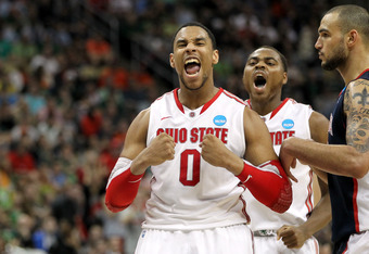 PITTSBURGH, PA - MARCH 17:  Jared Sullinger #0 and Deshaun Thomas #1 (C) of the Ohio State Buckeyes reacts in the second half against Robert Sacre #00 of the Gonzaga Bulldogs during the third round of the 2012 NCAA Men's Basketball Tournament at Consol En