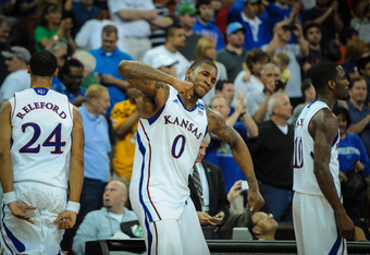 OMAHA, NE - MARCH 18: Thomas Robinson #0 of the Kansas Jayhawks  celebrates their come from behind win over the Purdue Boilermakers during the second round of the NCAA Mens Basketball Tournament at CenturyLink Center March 18, 2012 in Omaha, Nebraska. (Ph