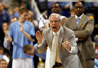 GREENSBORO, NC - MARCH 18:  Head coach Roy Williams of the North Carolina Tar Heels reacts in the second half while taking on the Creighton Bluejays during the third round of the 2012 NCAA Men's Basketball Tournament at Greensboro Coliseum on March 18, 20