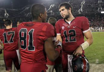 Whalen (17), Owusu (81) and Luck: next stop, NFL.