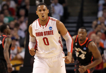 BOSTON, MA - MARCH 22:  Jared Sullinger #0 of the Ohio State Buckeyes reacts after a basket against Cincinnati Bearcats during their 2012 NCAA Men's Basketball East Regional Semifinal game at TD Garden on March 22, 2012 in Boston, Massachusetts.  (Photo b