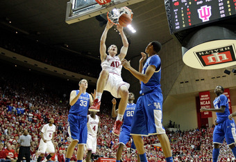 BLOOMINGTON, IN - DECEMBER 10:  Cody Zeller #40 of the Indiana Hoosiers dunks the ball during the Indiana 73-72 victory over the Kentucky Wildcats at Assembly Hall on December 10, 2011 in Bloomington, Indiana.  (Photo by Andy Lyons/Getty Images)