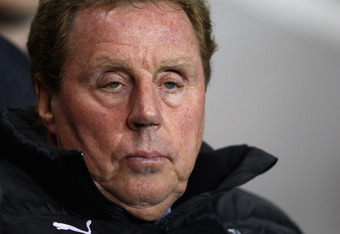 LONDON, ENGLAND - MARCH 21:  Harry Redknapp, manager of Spurs looks on before the Barclays Premier League match between Tottenham Hotspur and Stoke City at White Hart Lane on March 21, 2012 in London, England.  (Photo by Julian Finney/Getty Images)