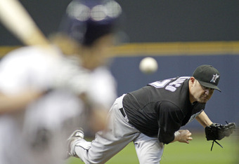 MILWAUKEE, WI -SEPTEMBER 25:  Ricky Nolasco #47 of the Florida Marlins pitches against the Milwaukee Brewers in the first inning at a Major League Baseball game at Miller Park Stadium on September 25, 2011 in Milwaukee, Wisconsin.  (Photo by Darren Hauck/