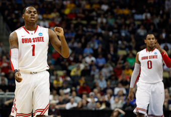 PITTSBURGH, PA - MARCH 15:  Deshaun Thomas #1 and Jared Sullinger #0 of the Ohio State Buckeyes react after a play against the Loyola Greyhounds during the second round of the 2012 NCAA Men's Basketball Tournament at Consol Energy Center on March 15, 2012