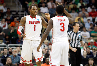 PITTSBURGH, PA - MARCH 17:  Deshaun Thomas #1 and Shannon Scott #3 of the Ohio State Buckeyes celebrate a play against the Gonzaga Bulldogs during the third round of the 2012 NCAA Men's Basketball Tournament at Consol Energy Center on March 17, 2012 in Pi
