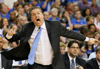 ATLANTA, GA - MARCH 23:  Head coach John Calipari of the Kentucky Wildcats reacts in the first half against the Indiana Hoosiers during the 2012 NCAA Men's Basketball South Regional Semifinal game at the Georgia Dome on March 23, 2012 in Atlanta, Georgia.