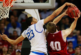 ATLANTA, GA - MARCH 23:  Anthony Davis #23 of the Kentucky Wildcats blocks a shot by Cody Zeller #40 of the Indiana Hoosiers in the second half during the 2012 NCAA Men's Basketball South Regional Semifinal game at the Georgia Dome on March 23, 2012 in At
