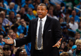 NEW ORLEANS, LA - DECEMBER 28:  Doc Rivers of the Boston Celtics talks to a referee during the game against the New Orleans Hornets at New Orleans Arena on December 28, 2011 in New Orleans, Louisiana.  NOTE TO USER: User expressly acknowledges and agrees