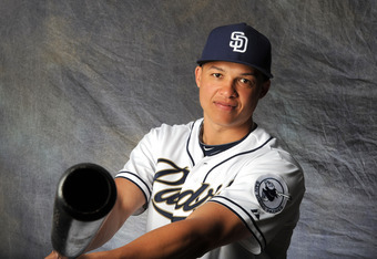 PEORIA, AZ - FEBRUARY 27:  Will Venable #25 of the San Diego Padres poses for a portrait during a photo day at Peoria Stadium on February 27, 2012 in Peoria, Arizona. (Photo by Rich Pilling/Getty Images)