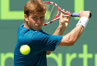 KEY BISCAYNE, FL - MARCH 22:  Ryan Harrison in action against Potito Starace of Italy during Day 4 of the Sony Ericsson Open at Crandon Park Tennis Center on March 22, 2012 in Key Biscayne, Florida.  (Photo by Mike Ehrmann/Getty Images)