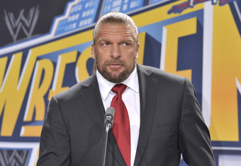 EAST RUTHERFORD, NJ - FEBRUARY 16: Triple H attends a press conference to announce a major international event at MetLife Stadium on February 16, 2012 in East Rutherford, New Jersey. (Photo by Michael N. Todaro/Getty Images)