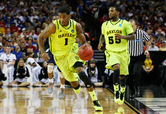 ATLANTA, GA - MARCH 23:  Perry Jones III #1 of the Baylor Bears drives against the Xavier Musketeers during the 2012 NCAA Men's Basketball South Regional Semifinal game at the Georgia Dome on March 23, 2012 in Atlanta, Georgia.  (Photo by Kevin C. Cox/Get