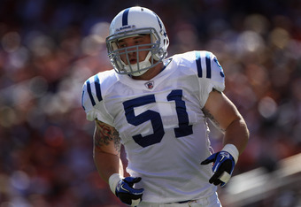 DENVER - SEPTEMBER 26:  Pat Angerer #51 of the Indianapolis Colts in action against the Denver Broncos at INVESCO Field at Mile High on September 26, 2010 in Denver, Colorado. The Colts defeated the Broncos 27-13.  (Photo by Doug Pensinger/Getty Images)