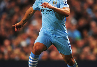 MANCHESTER, ENGLAND - MARCH 21:  Sergio Aguero of Manchester City in action during the Barclays Premier League match between Manchester City and Chelsea at the Etihad Stadium on March 21, 2012 in Manchester, England.  (Photo by Laurence Griffiths/Getty Im