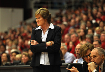 PALO ALTO, CA - DECEMBER 20:  Tennessee Lady Volunteers head coach Pat Summitt stands on the side of the court during their game against the Stanford Cardinal at Maples Pavilion on December 20, 2011 in Palo Alto, California.  (Photo by Ezra Shaw/Getty Ima