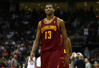 NEWARK, NJ - MARCH 19:  Tristan Thompson #13 of the Cleveland Cavaliers looks on against the New Jersey Nets at Prudential Center on March 19, 2012 in Newark, New Jersey.  NOTE TO USER: User expressly acknowledges and agrees that, by downloading and or us