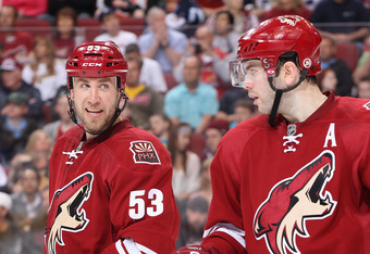 """You don't suppose Derek Morris is asking his alternate captain whether he speaks French or not? """"Uh, how do you say Coyotes in French?"""""""