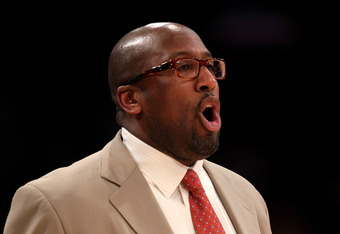 LOS ANGELES, CA - MARCH 18:  Head coach Mike Brown of the Los Angeles Lakers shouts instructions in the game with the Utah Jazz at Staples Center on March 18, 2012 in Los Angeles, California. The Jazz won 103-99.   NOTE TO USER: User expressly acknowledge