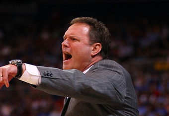 ST LOUIS, MO - MARCH 25:  head coach Bill Self of the Kansas Jayhawks reacts in the first half against the North Carolina Tar Heels during the 2012 NCAA Men's Basketball Midwest Regional Final at Edward Jones Dome on March 25, 2012 in St Louis, Missouri.