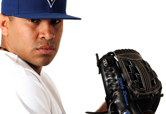 DUNEDIN, FL - MARCH 02:  Ricky Romero #24 of the Toronto Blue Jays poses for a portrait at Dunedin Stadium on March 2, 2012 in Dunedin, Florida.  (Photo by Jonathan Ferrey/Getty Images)