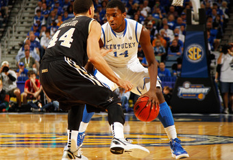 NEW ORLEANS, LA - MARCH 11:  Michael Kidd-Gilchrist #14 of the Kentucky Wildcats drives against Jeffery Taylor #44 of the Vanderbilt Commodores in the first half during the championship game of the 2012 SEC Men's Basketball Tournament at New Orleans Arena