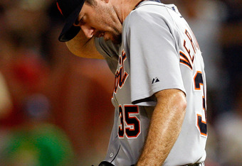 ARLINGTON, TX - JULY 29:  Pitcher Justin Verlander #35 of the Detroit Tigers reacts after giving up two runs on a double by Michael Young #10 of the Texas Rangers on July 29, 2009 at Rangers Ballpark in Arlington, Texas.  (Photo by Ronald Martinez/Getty I