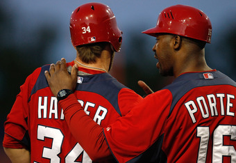 PORT ST. LUCIE, FL - MARCH 05:  Bryce Harper #34 of the Washington Nationals talks with third base coach Bo Porter #16 during a preseason game against the New York Mets at Digital Domain Park on March 5, 2012 in Port St. Lucie, Florida.  (Photo by Sarah G