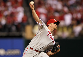 ST LOUIS, MO - OCTOBER 04:  Brad Lidge #54 of the Philadelphia Phillies throws a pitch against the St. Louis Cardinals in the eighth inning of Game Three of the National League Division Series at Busch Stadium on October 4, 2011 in St Louis, Missouri.  (P