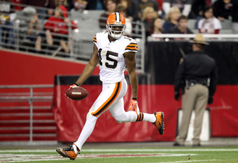 GLENDALE, AZ - DECEMBER 18:  Wide receiver Greg Little #15 of the Cleveland Browns celebrates after scoring on a 76 yard touchdown reception against the Arizona Cardinals during the thrid quarter of the NFL game at the University of Phoenix Stadium on Dec